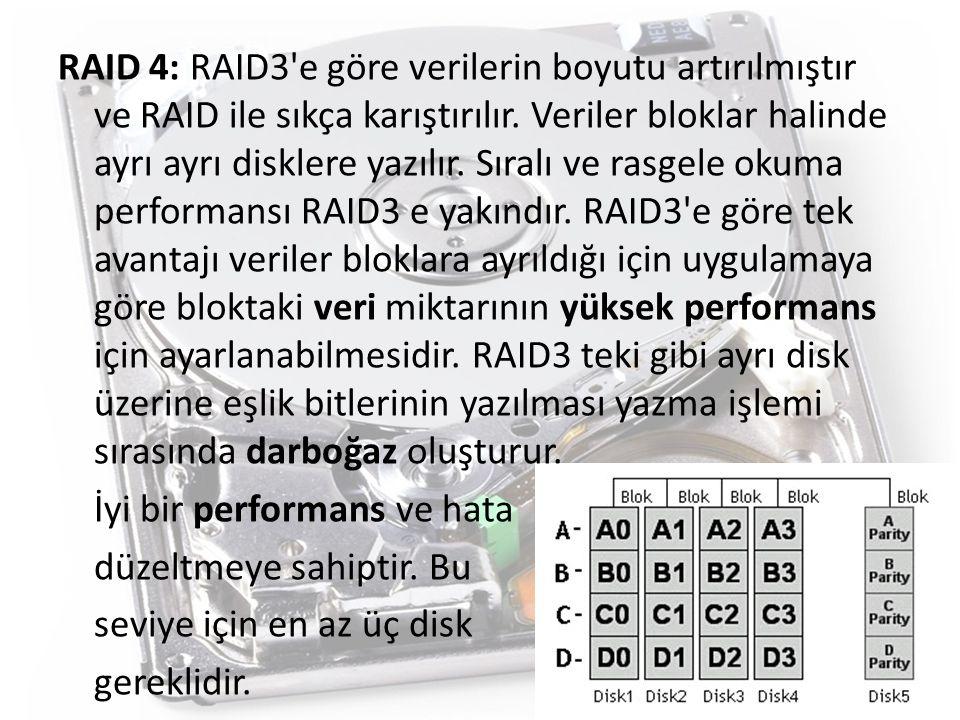 RAID 4: RAID3'e göre verilerin boyutu artırılmıştır ve RAID ile sıkça karıştırılır. Veriler bloklar halinde ayrı ayrı disklere yazılır. Sıralı ve rasg