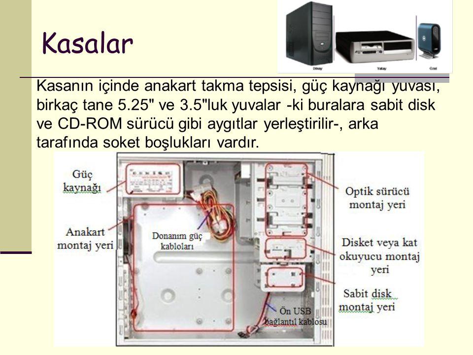 Kasalar Kasanın içinde anakart takma tepsisi, güç kaynağı yuvası, birkaç tane 5.25 ve 3.5 luk yuvalar -ki buralara sabit disk ve CD-ROM sürücü gibi aygıtlar yerleştirilir-, arka tarafında soket boşlukları vardır.