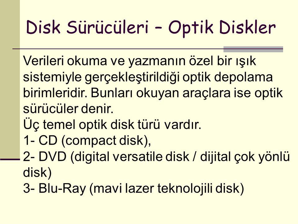 Disk Sürücüleri – Optik Diskler Verileri okuma ve yazmanın özel bir ışık sistemiyle gerçekleştirildiği optik depolama birimleridir. Bunları okuyan ara
