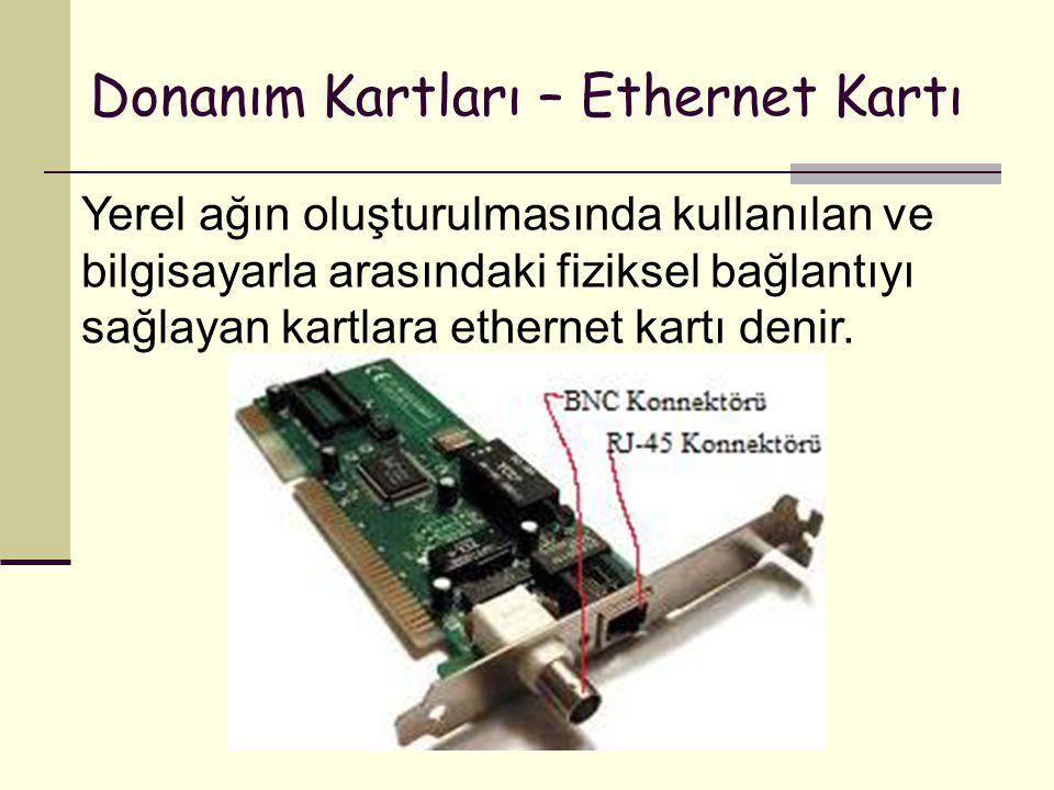 Donanım Kartları – Ethernet Kartı Yerel ağın oluşturulmasında kullanılan ve bilgisayarla arasındaki fiziksel bağlantıyı sağlayan kartlara ethernet kartı denir.