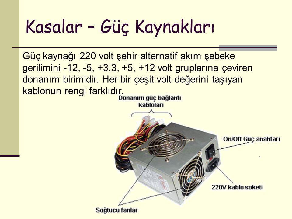 Kasalar – Güç Kaynakları Güç kaynağı 220 volt şehir alternatif akım şebeke gerilimini -12, -5, +3.3, +5, +12 volt gruplarına çeviren donanım birimidir