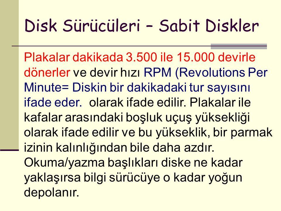 Disk Sürücüleri – Sabit Diskler Plakalar dakikada 3.500 ile 15.000 devirle dönerler ve devir hızı RPM (Revolutions Per Minute= Diskin bir dakikadaki t