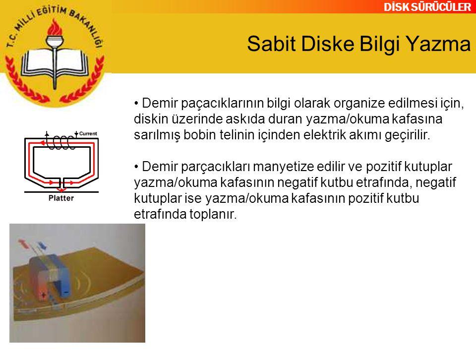 DİSK SÜRÜCÜLER Sabit Diske Bilgi Yazma Demir paçacıklarının bilgi olarak organize edilmesi için, diskin üzerinde askıda duran yazma/okuma kafasına sar