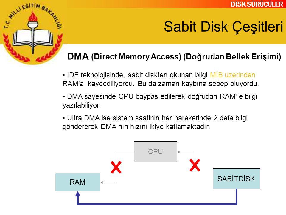 DİSK SÜRÜCÜLER Sabit Disk Çeşitleri DMA (Direct Memory Access) (Doğrudan Bellek Erişimi) CPU SABİTDİSK RAM IDE teknolojisinde, sabit diskten okunan bi