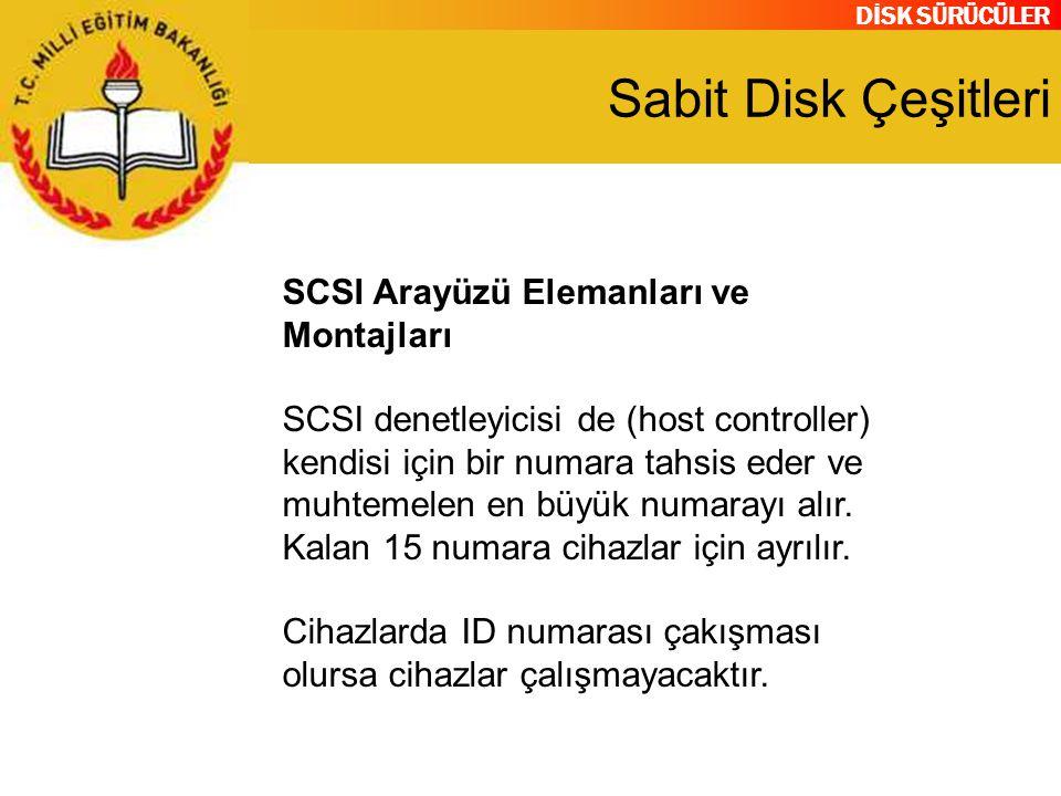 DİSK SÜRÜCÜLER Sabit Disk Çeşitleri SCSI Arayüzü Elemanları ve Montajları SCSI denetleyicisi de (host controller) kendisi için bir numara tahsis eder