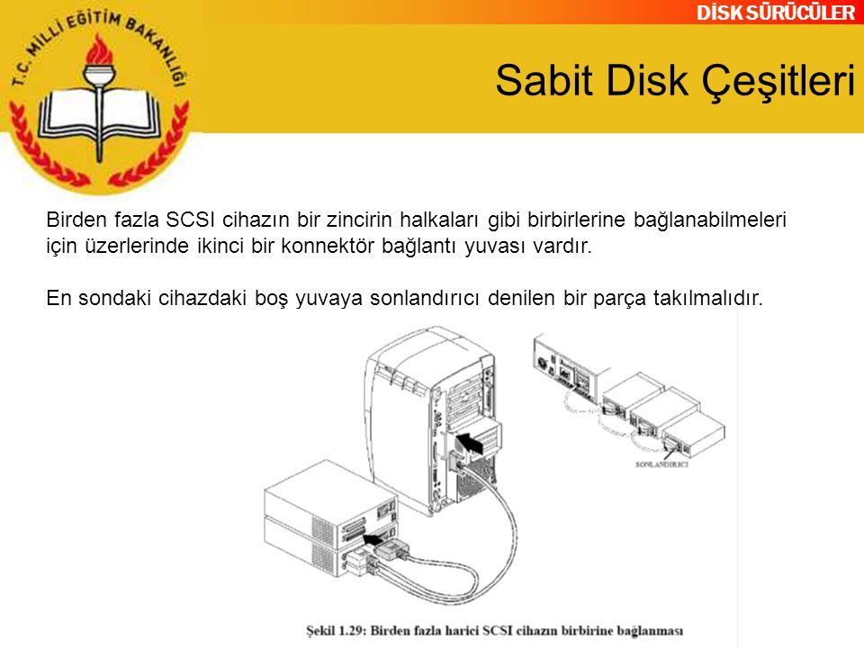 DİSK SÜRÜCÜLER Sabit Disk Çeşitleri Birden fazla SCSI cihazın bir zincirin halkaları gibi birbirlerine bağlanabilmeleri için üzerlerinde ikinci bir ko