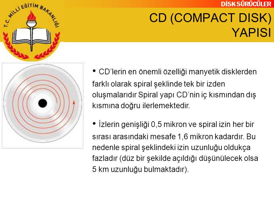 DİSK SÜRÜCÜLER CD (COMPACT DISK) YAPISI CD'lerin en önemli özelliği manyetik disklerden farklı olarak spiral şeklinde tek bir izden oluşmalarıdır Spir