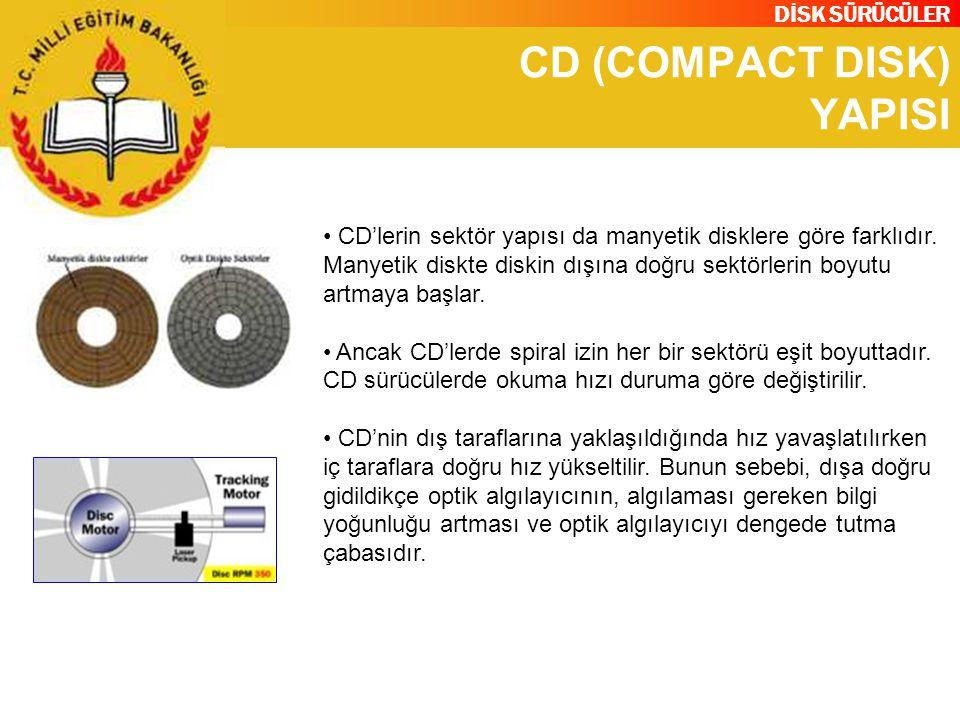 DİSK SÜRÜCÜLER CD (COMPACT DISK) YAPISI CD'lerin sektör yapısı da manyetik disklere göre farklıdır. Manyetik diskte diskin dışına doğru sektörlerin bo
