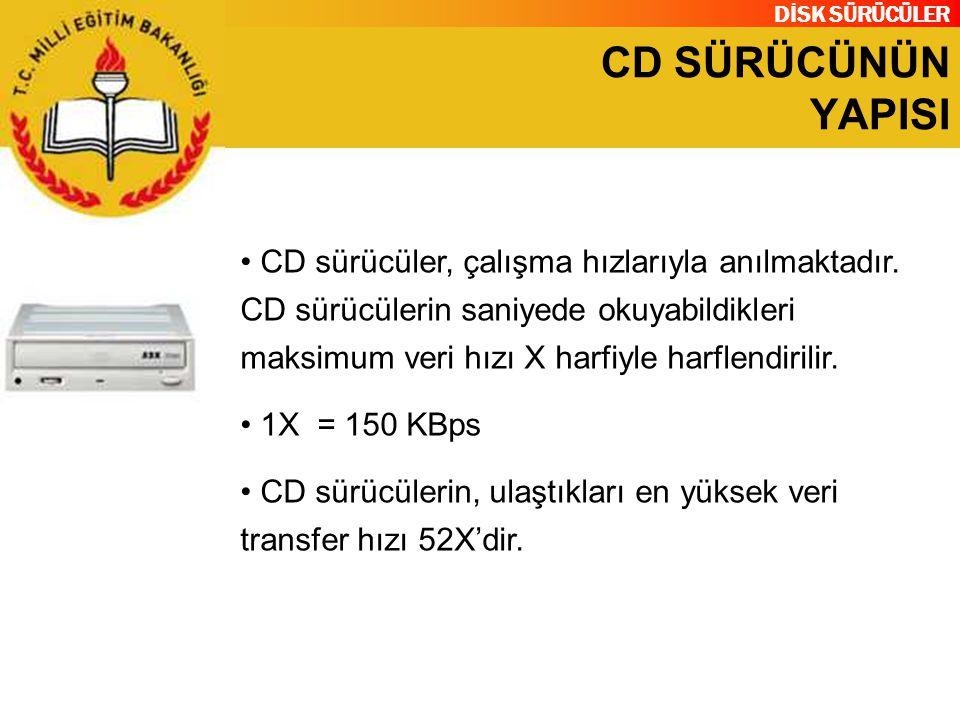 DİSK SÜRÜCÜLER CD SÜRÜCÜNÜN YAPISI CD sürücüler, çalışma hızlarıyla anılmaktadır. CD sürücülerin saniyede okuyabildikleri maksimum veri hızı X harfiyl