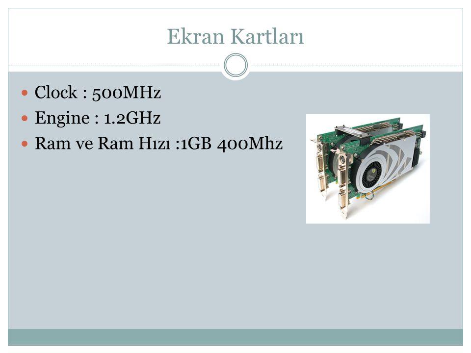 Ekran Kartları Clock : 500MHz Engine : 1.2GHz Ram ve Ram Hızı :1GB 400Mhz