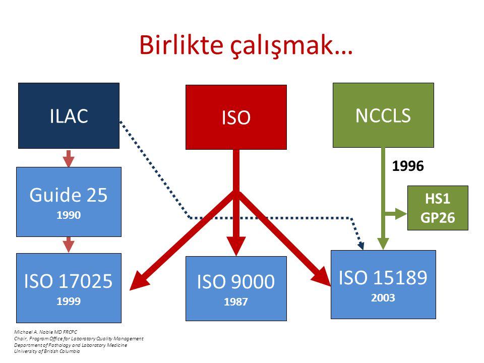 Birlikte çalışmak… ISO ISO 9000 1987 Guide 25 1990 ISO 17025 1999 ILAC NCCLS ISO 15189 2003 1996 HS1 GP26 Michael A.