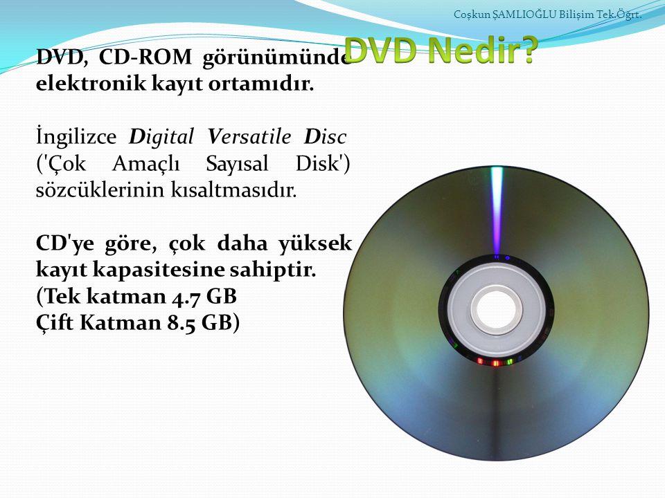 DVD, CD-ROM görünümünde elektronik kayıt ortamıdır. İngilizce Digital Versatile Disc ('Çok Amaçlı Sayısal Disk') sözcüklerinin kısaltmasıdır. CD'ye gö