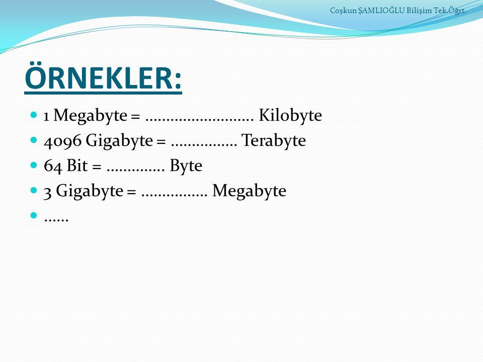 ÖRNEKLER: 1 Megabyte = …………………….. Kilobyte 4096 Gigabyte = ……………. Terabyte 64 Bit = ………….. Byte 3 Gigabyte = ……………. Megabyte …… Coşkun ŞAMLIOĞLU Biliş