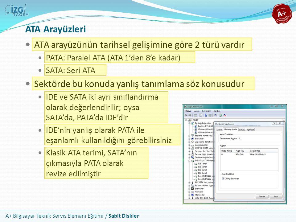 A+ Bilgisayar Teknik Servis Elemanı Eğitimi / Sabit Diskler ATA Arayüzleri ATA arayüzünün tarihsel gelişimine göre 2 türü vardır PATA: Paralel ATA (AT