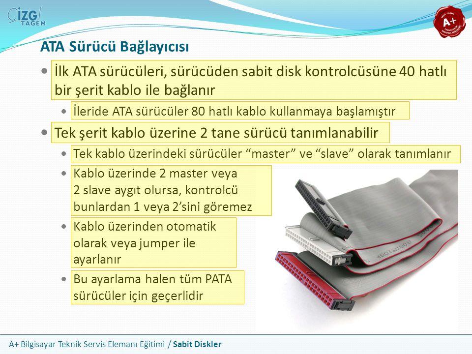 A+ Bilgisayar Teknik Servis Elemanı Eğitimi / Sabit Diskler ATA Sürücü Bağlayıcısı İlk ATA sürücüleri, sürücüden sabit disk kontrolcüsüne 40 hatlı bir