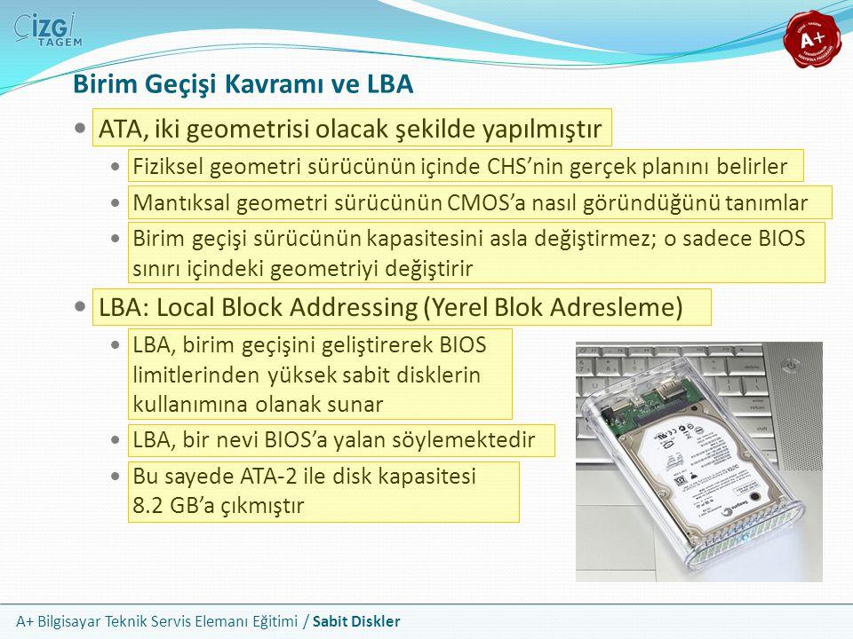 A+ Bilgisayar Teknik Servis Elemanı Eğitimi / Sabit Diskler Birim Geçişi Kavramı ve LBA ATA, iki geometrisi olacak şekilde yapılmıştır Fiziksel geomet