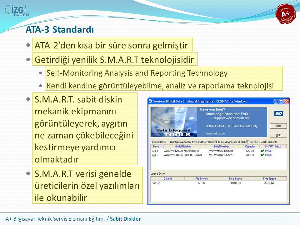 A+ Bilgisayar Teknik Servis Elemanı Eğitimi / Sabit Diskler ATA-3 Standardı ATA-2'den kısa bir süre sonra gelmiştir Getirdiği yenilik S.M.A.R.T teknol