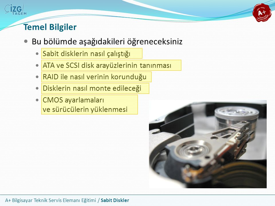 A+ Bilgisayar Teknik Servis Elemanı Eğitimi / Sabit Diskler Sabit Disk Bileşenleri Kapak Montaj Delikleri Kasa Montaj Delikleri Manyetik Plakalar Okuma Yazma Kafaları Hareket Kolları SATA Arayüz Bağlantısı Enerji Bağlantısı Hareket Motoru Plaka Devir Merkezi Şerit Kablo Disk Kasası Hava Filtresi