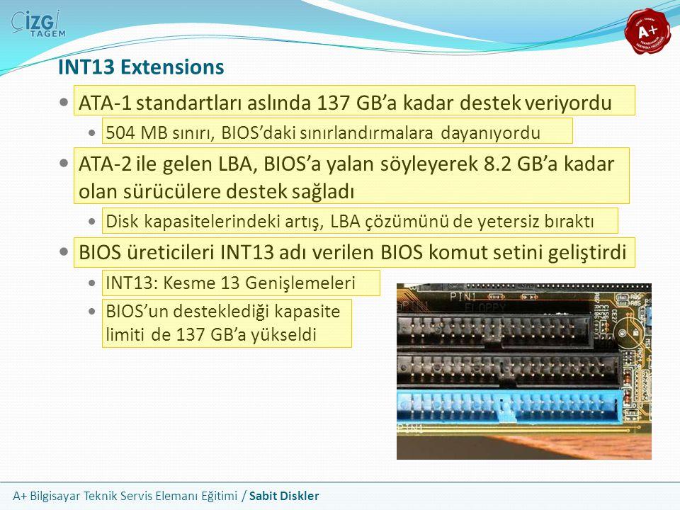 A+ Bilgisayar Teknik Servis Elemanı Eğitimi / Sabit Diskler INT13 Extensions ATA-1 standartları aslında 137 GB'a kadar destek veriyordu 504 MB sınırı,