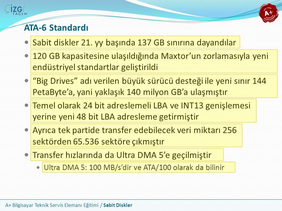 A+ Bilgisayar Teknik Servis Elemanı Eğitimi / Sabit Diskler ATA-6 Standardı Sabit diskler 21. yy başında 137 GB sınırına dayandılar 120 GB kapasitesin