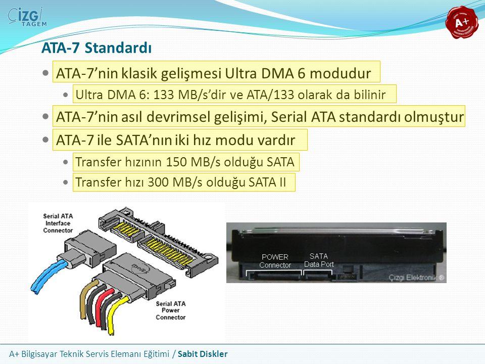 A+ Bilgisayar Teknik Servis Elemanı Eğitimi / Sabit Diskler ATA-7 Standardı ATA-7'nin klasik gelişmesi Ultra DMA 6 modudur Ultra DMA 6: 133 MB/s'dir v