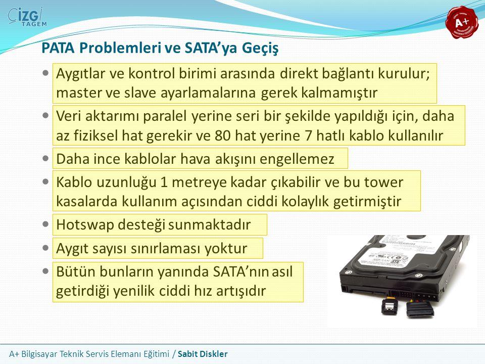 A+ Bilgisayar Teknik Servis Elemanı Eğitimi / Sabit Diskler PATA Problemleri ve SATA'ya Geçiş Aygıtlar ve kontrol birimi arasında direkt bağlantı kuru