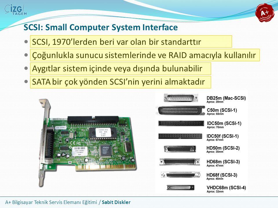 A+ Bilgisayar Teknik Servis Elemanı Eğitimi / Sabit Diskler SCSI: Small Computer System Interface SCSI, 1970'lerden beri var olan bir standarttır Çoğu