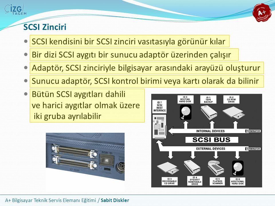 A+ Bilgisayar Teknik Servis Elemanı Eğitimi / Sabit Diskler SCSI kendisini bir SCSI zinciri vasıtasıyla görünür kılar Bir dizi SCSI aygıtı bir sunucu