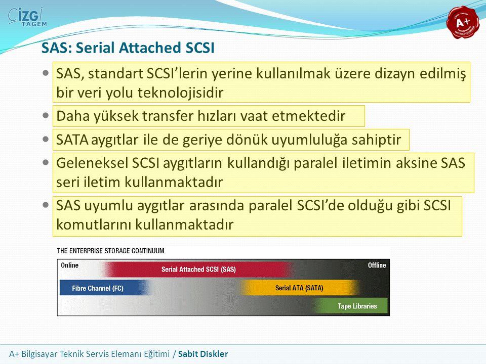 A+ Bilgisayar Teknik Servis Elemanı Eğitimi / Sabit Diskler SAS: Serial Attached SCSI SAS, standart SCSI'lerin yerine kullanılmak üzere dizayn edilmiş