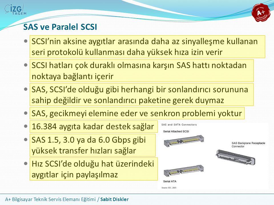 A+ Bilgisayar Teknik Servis Elemanı Eğitimi / Sabit Diskler SAS ve Paralel SCSI SCSI'nin aksine aygıtlar arasında daha az sinyalleşme kullanan seri pr