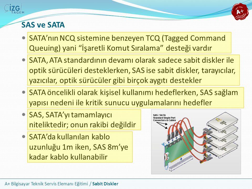 """A+ Bilgisayar Teknik Servis Elemanı Eğitimi / Sabit Diskler SAS ve SATA SATA'nın NCQ sistemine benzeyen TCQ (Tagged Command Queuing) yani """"İşaretli Ko"""