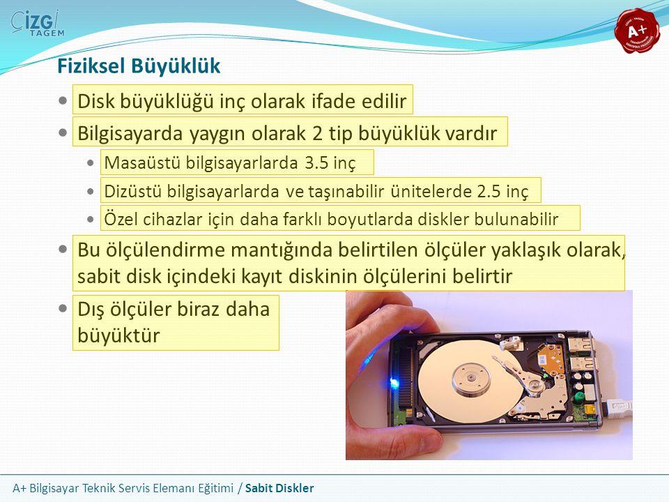 A+ Bilgisayar Teknik Servis Elemanı Eğitimi / Sabit Diskler Fiziksel Büyüklük Disk büyüklüğü inç olarak ifade edilir Bilgisayarda yaygın olarak 2 tip