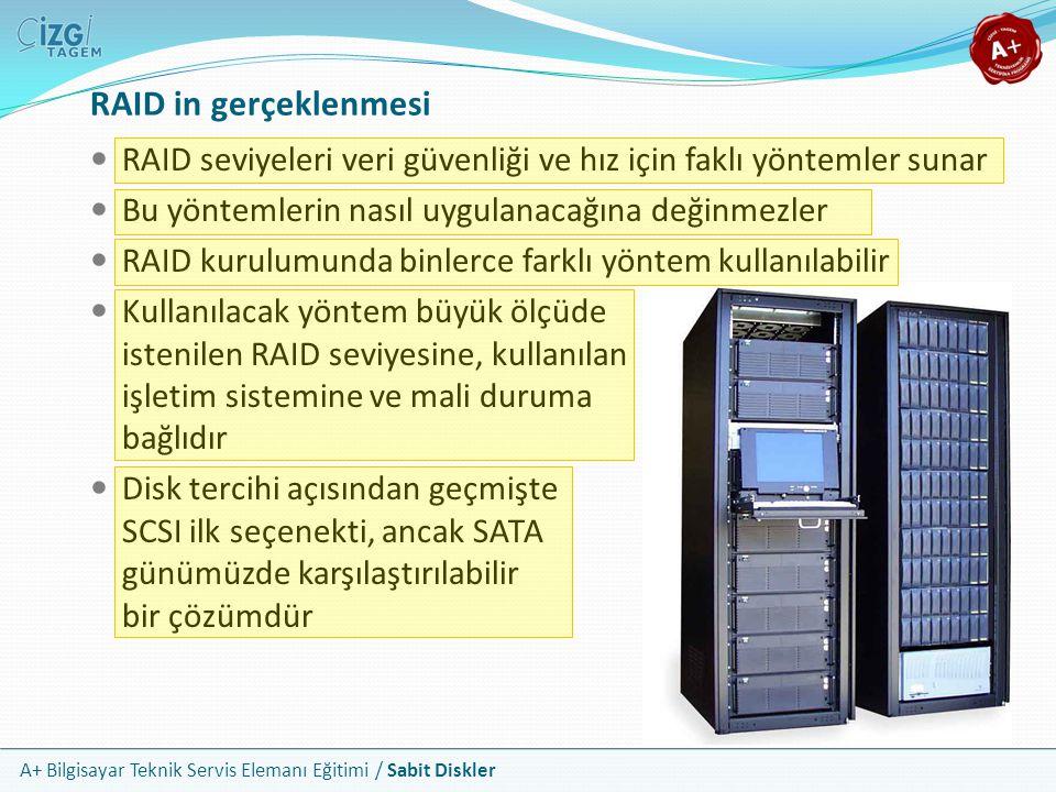A+ Bilgisayar Teknik Servis Elemanı Eğitimi / Sabit Diskler RAID in gerçeklenmesi RAID seviyeleri veri güvenliği ve hız için faklı yöntemler sunar Bu