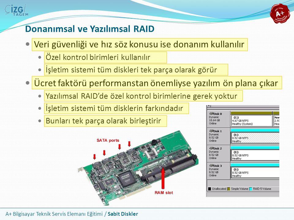 A+ Bilgisayar Teknik Servis Elemanı Eğitimi / Sabit Diskler Donanımsal ve Yazılımsal RAID Veri güvenliği ve hız söz konusu ise donanım kullanılır Özel