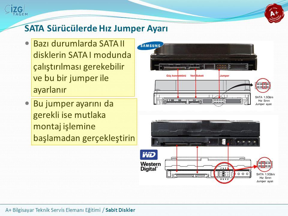 A+ Bilgisayar Teknik Servis Elemanı Eğitimi / Sabit Diskler SATA Sürücülerde Hız Jumper Ayarı Bazı durumlarda SATA II disklerin SATA I modunda çalıştı