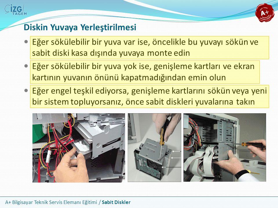 A+ Bilgisayar Teknik Servis Elemanı Eğitimi / Sabit Diskler Diskin Yuvaya Yerleştirilmesi Eğer sökülebilir bir yuva var ise, öncelikle bu yuvayı sökün
