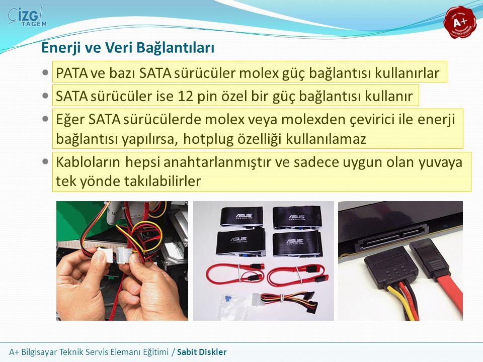A+ Bilgisayar Teknik Servis Elemanı Eğitimi / Sabit Diskler Enerji ve Veri Bağlantıları PATA ve bazı SATA sürücüler molex güç bağlantısı kullanırlar S