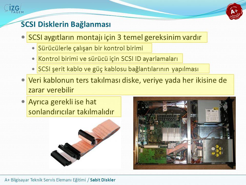 A+ Bilgisayar Teknik Servis Elemanı Eğitimi / Sabit Diskler SCSI Disklerin Bağlanması SCSI aygıtların montajı için 3 temel gereksinim vardır Sürücüler