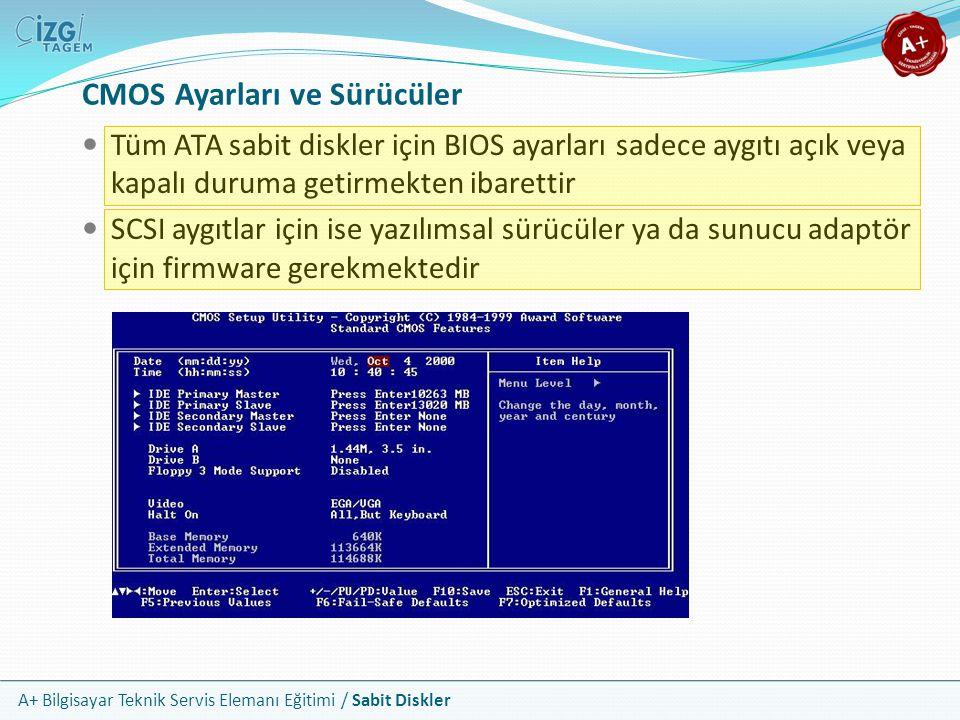 A+ Bilgisayar Teknik Servis Elemanı Eğitimi / Sabit Diskler Tüm ATA sabit diskler için BIOS ayarları sadece aygıtı açık veya kapalı duruma getirmekten
