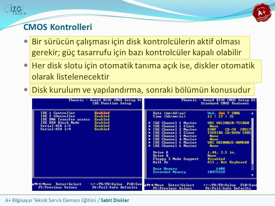 A+ Bilgisayar Teknik Servis Elemanı Eğitimi / Sabit Diskler CMOS Kontrolleri Bir sürücün çalışması için disk kontrolcülerin aktif olması gerekir; güç