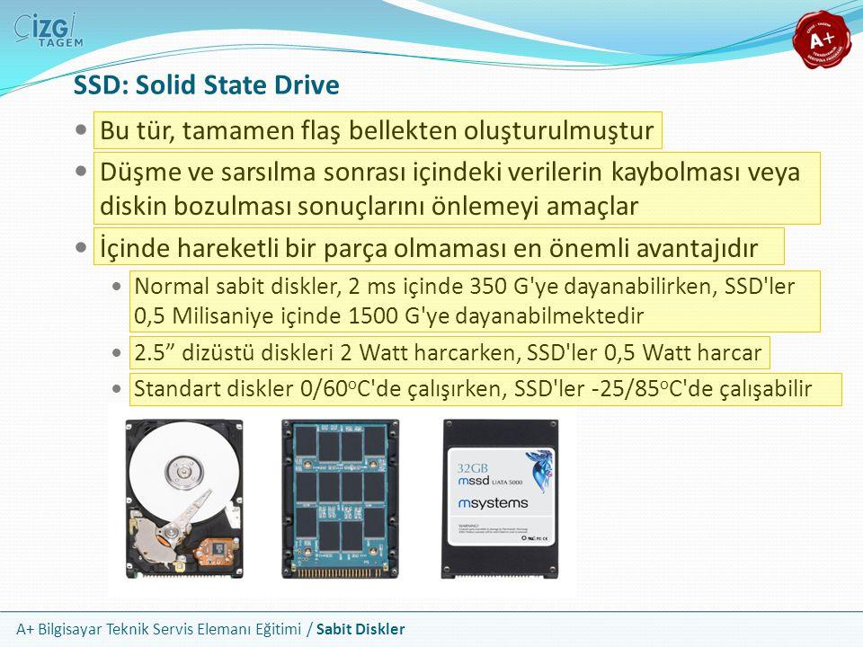 A+ Bilgisayar Teknik Servis Elemanı Eğitimi / Sabit Diskler SSD: Solid State Drive Bu tür, tamamen flaş bellekten oluşturulmuştur Düşme ve sarsılma so