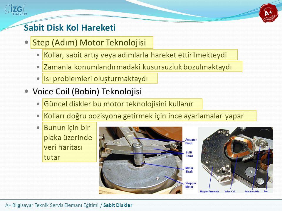 A+ Bilgisayar Teknik Servis Elemanı Eğitimi / Sabit Diskler e-SATA SATA yol standardını harici aygıtlara genişletir e-SATA aygıtlar da, dahili SATA konektörlerini kullanmaktadır Farklı anahtarlamaları sayesinde birbirlerine karıştırılmazlar e-SATA bilgisayar dışında özel yalıtımlı bir kablo kullanır 2 metreye kadar menzili vardır Hotplug desteği sunar SATA bus hızını aynen sunabilir External SATA e-SATA Portu