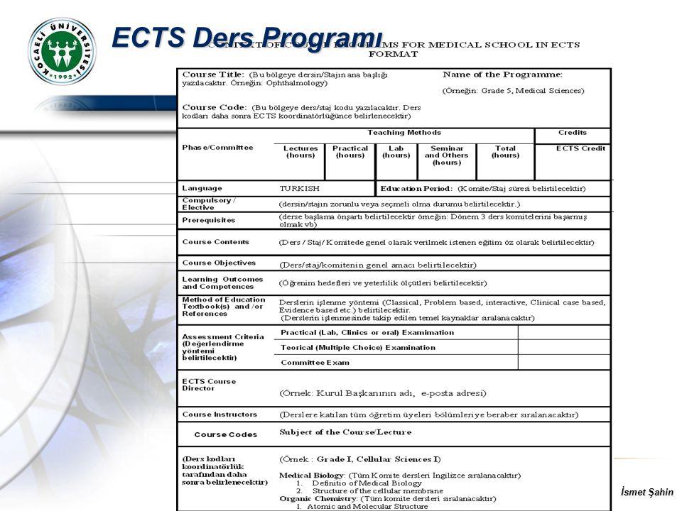 İsmet Şahin ECTS Ders Programı