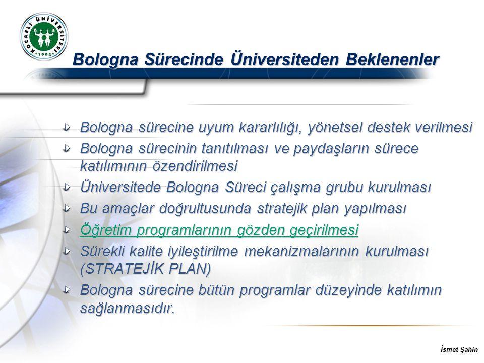 İsmet Şahin Bologna sürecine uyum kararlılığı, yönetsel destek verilmesi Bologna sürecinin tanıtılması ve paydaşların sürece katılımının özendirilmesi Üniversitede Bologna Süreci çalışma grubu kurulması Bu amaçlar doğrultusunda stratejik plan yapılması Öğretim programlarının gözden geçirilmesi Sürekli kalite iyileştirilme mekanizmalarının kurulması (STRATEJİK PLAN) Bologna sürecine bütün programlar düzeyinde katılımın sağlanmasıdır.