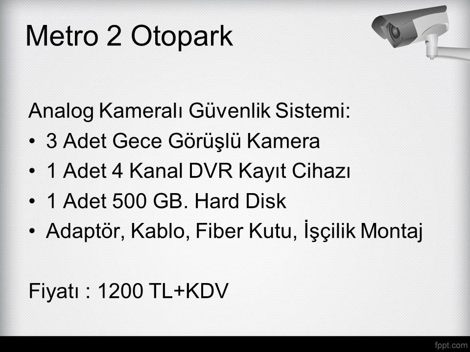 Analog Kameralı Güvenlik Sistemi: 3 Adet Gece Görüşlü Kamera 1 Adet 4 Kanal DVR Kayıt Cihazı 1 Adet 500 GB. Hard Disk Adaptör, Kablo, Fiber Kutu, İşçi