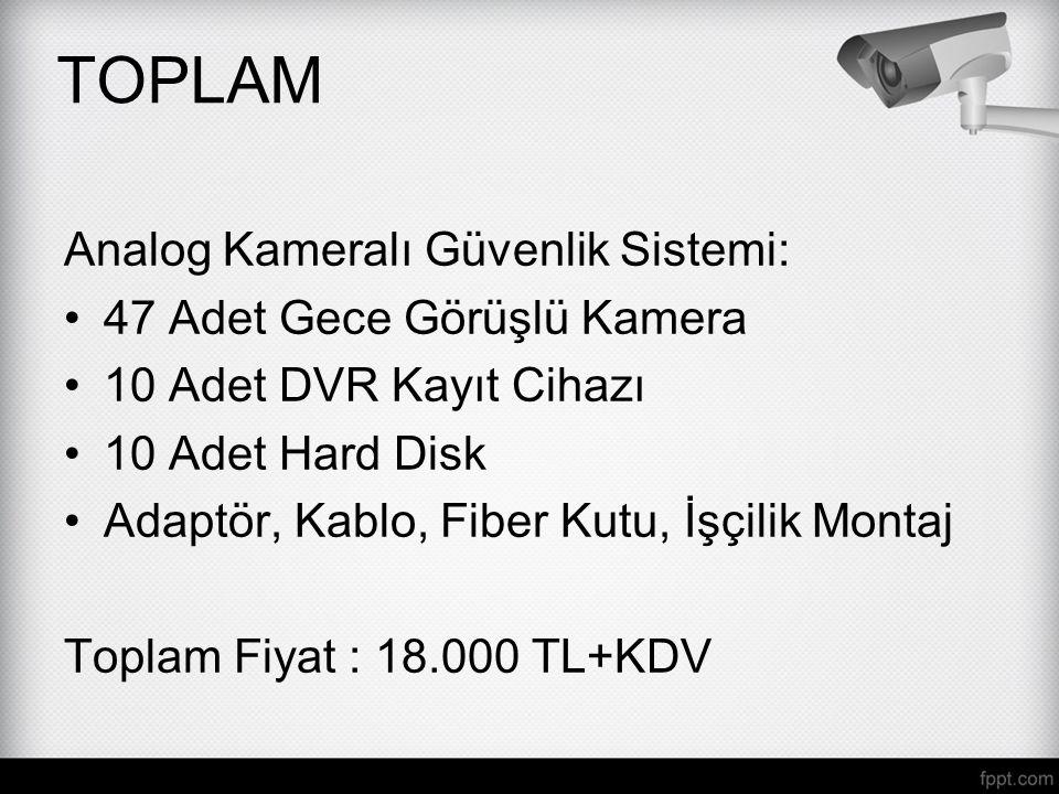 TOPLAM Analog Kameralı Güvenlik Sistemi: 47 Adet Gece Görüşlü Kamera 10 Adet DVR Kayıt Cihazı 10 Adet Hard Disk Adaptör, Kablo, Fiber Kutu, İşçilik Mo