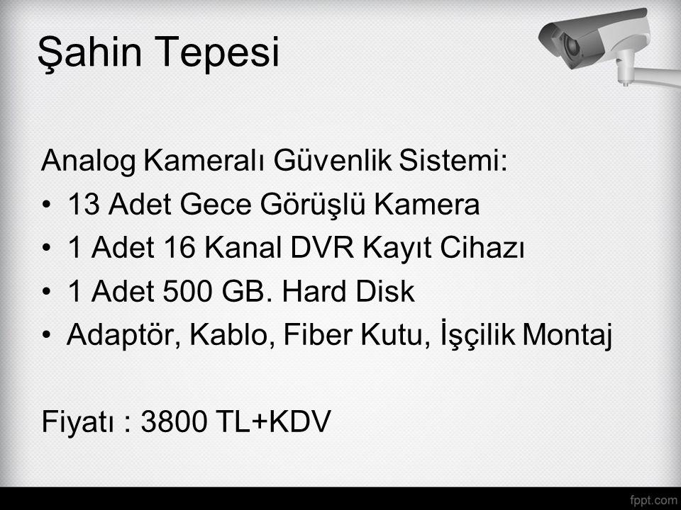 Analog Kameralı Güvenlik Sistemi: 13 Adet Gece Görüşlü Kamera 1 Adet 16 Kanal DVR Kayıt Cihazı 1 Adet 500 GB. Hard Disk Adaptör, Kablo, Fiber Kutu, İş