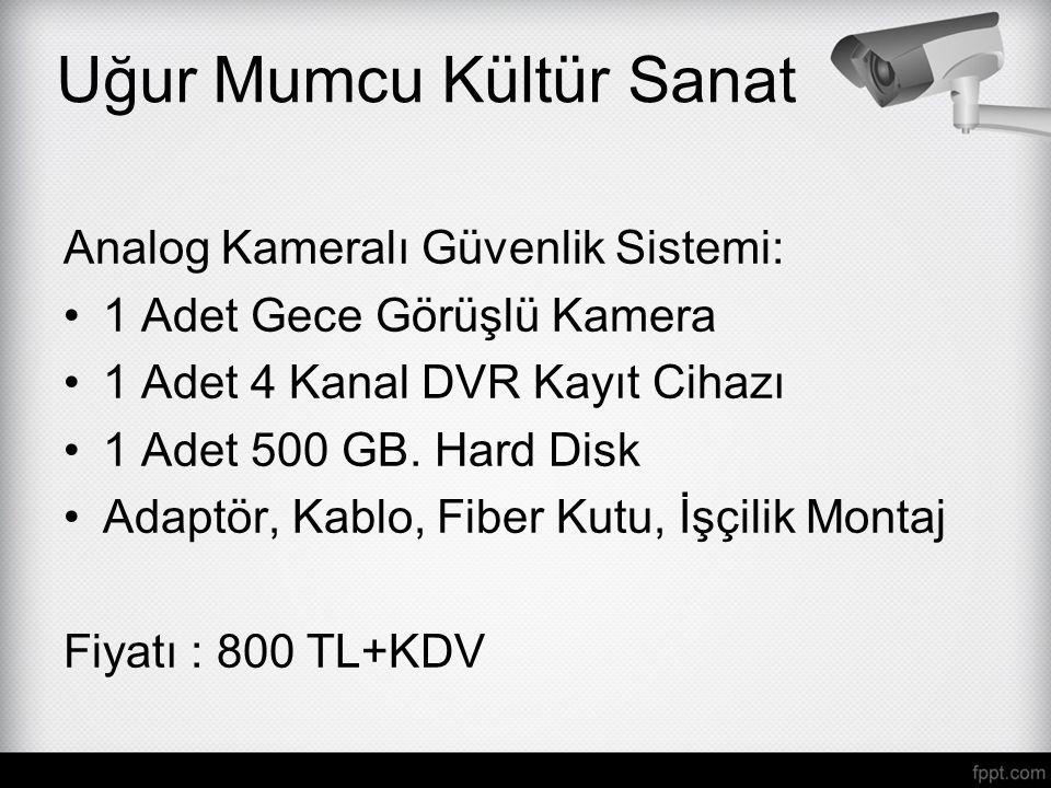 Analog Kameralı Güvenlik Sistemi: 1 Adet Gece Görüşlü Kamera 1 Adet 4 Kanal DVR Kayıt Cihazı 1 Adet 500 GB. Hard Disk Adaptör, Kablo, Fiber Kutu, İşçi