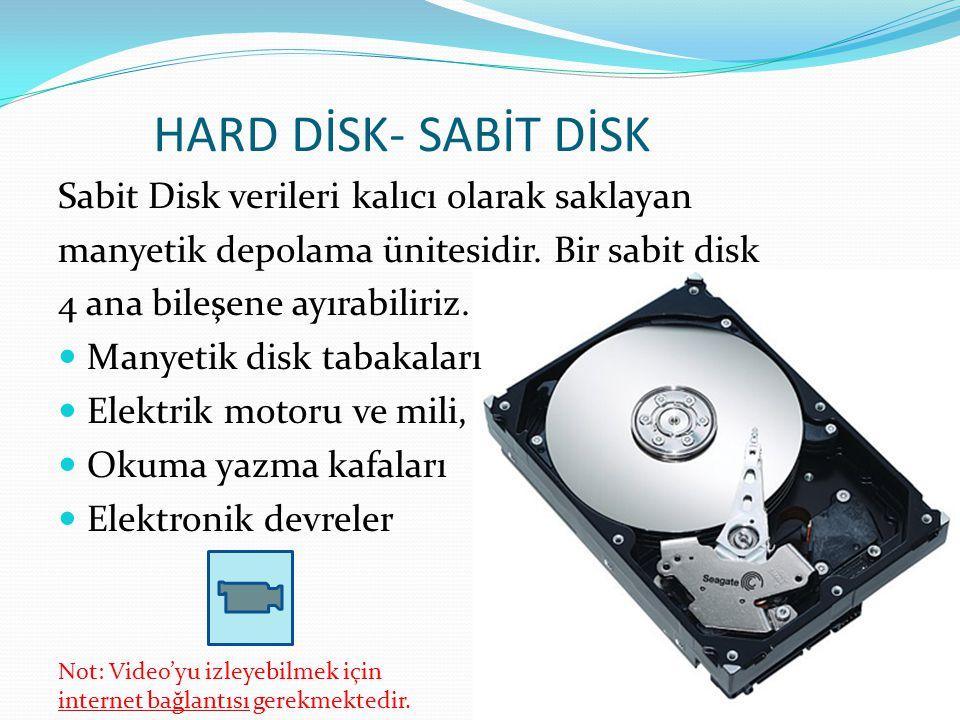 HARD DİSK- SABİT DİSK Sabit Disk verileri kalıcı olarak saklayan manyetik depolama ünitesidir. Bir sabit disk 4 ana bileşene ayırabiliriz. Manyetik di