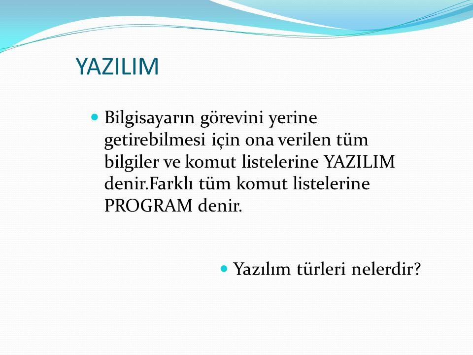 YAZILIM Bilgisayarın görevini yerine getirebilmesi için ona verilen tüm bilgiler ve komut listelerine YAZILIM denir.Farklı tüm komut listelerine PROGR